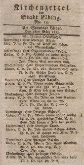 Kirchenzettel der Stadt Elbing, Nr. 14, 28 März 1813