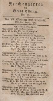 Kirchenzettel der Stadt Elbing, Nr. 36, 8 August 1813