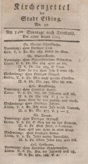Kirchenzettel der Stadt Elbing, Nr. 39, 29 August 1813