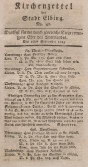 Kirchenzettel der Stadt Elbing, Nr. 42, 19 September 1813
