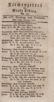Kirchenzettel der Stadt Elbing, Nr. 45, 10 Oktober 1813