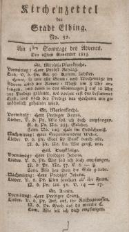 Kirchenzettel der Stadt Elbing, Nr. 52, 28 November 1813