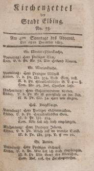 Kirchenzettel der Stadt Elbing, Nr. 55, 19 Dezember 1813