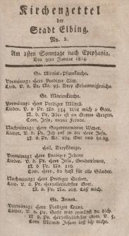 Kirchenzettel der Stadt Elbing, Nr. 2, 9 Januar 1814