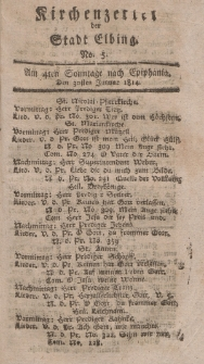 Kirchenzettel der Stadt Elbing, Nr. 5, 30 Januar 1814