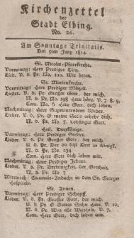 Kirchenzettel der Stadt Elbing, Nr. 26, 5 Juni 1814