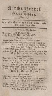 Kirchenzettel der Stadt Elbing, Nr. 27, 12 Juni 1814