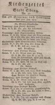 Kirchenzettel der Stadt Elbing, Nr. 30, 3 Juli 1814