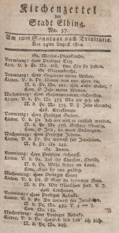 Kirchenzettel der Stadt Elbing, Nr. 37, 14 August 1814