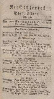 Kirchenzettel der Stadt Elbing, Nr. 39, 28 August 1814