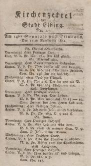 Kirchenzettel der Stadt Elbing, Nr. 41, 11 September 1814