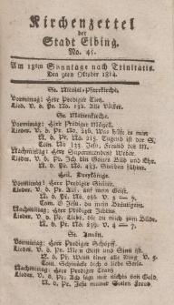 Kirchenzettel der Stadt Elbing, Nr. 45, 9 Oktober 1814
