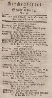 Kirchenzettel der Stadt Elbing, Nr. 46, 16 Oktober 1814