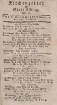 Kirchenzettel der Stadt Elbing, Nr. 48, 30 Oktober 1814
