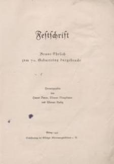 Festschrift Bruno Ehrlich zum 70. Geburtstag dargebracht.