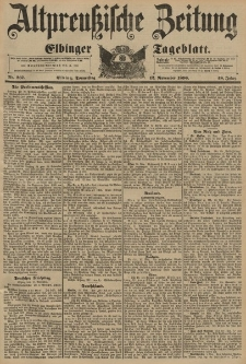 Altpreussische Zeitung, Nr. 267 Donnerstag 12 November 1896, 48. Jahrgang