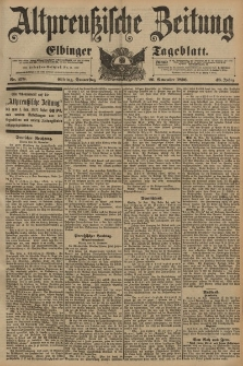 Altpreussische Zeitung, Nr. 278 Donnerstag 26 November 1896, 48. Jahrgang