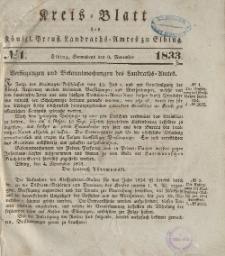 Kreis-Blatt des Königlich Preußischen Landraths-Amtes zu Elbing, Nr. 1 Sonnabend 9 November 1833