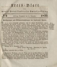 Kreis-Blatt des Königlich Preußischen Landraths-Amtes zu Elbing, Nr. 2 Sonnabend 16 November 1833