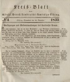 Kreis-Blatt des Königlich Preußischen Landraths-Amtes zu Elbing, Nr. 4 Sonnabend 30 November 1833