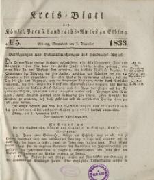 Kreis-Blatt des Königlich Preußischen Landraths-Amtes zu Elbing, Nr. 5 Sonnabend 7 Dezember 1833