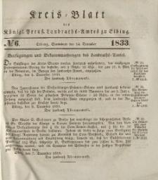 Kreis-Blatt des Königlich Preußischen Landraths-Amtes zu Elbing, Nr. 6 Sonnabend 14 Dezember 1833