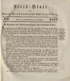 Kreis-Blatt des Königlich Preußischen Landraths-Amtes zu Elbing, Nr. 8 Sonnabend 28 Dezember 1833