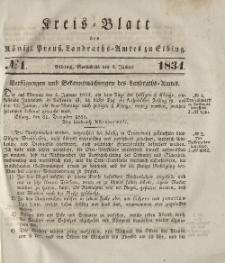 Kreis-Blatt des Königlich Preußischen Landraths-Amtes zu Elbing, Nr. 1 Sonnabend 4 Januar 1834