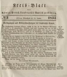 Kreis-Blatt des Königlich Preußischen Landraths-Amtes zu Elbing, Nr. 3 Sonnabend 18 Januar 1834
