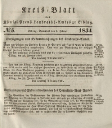 Kreis-Blatt des Königlich Preußischen Landraths-Amtes zu Elbing, Nr. 5 Sonnabend 1 Februar 1834