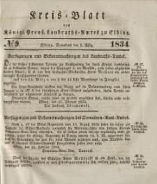 Kreis-Blatt des Königlich Preußischen Landraths-Amtes zu Elbing, Nr. 9 Sonnabend 1 März 1834
