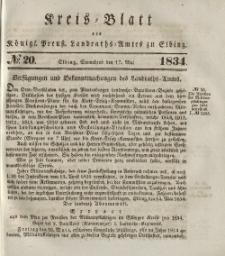 Kreis-Blatt des Königlich Preußischen Landraths-Amtes zu Elbing, Nr. 20 Sonnabend 17 Mai 1834