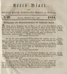 Kreis-Blatt des Königlich Preußischen Landraths-Amtes zu Elbing, Nr. 27 Sonnabend 5 Juli 1834