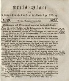 Kreis-Blatt des Königlich Preußischen Landraths-Amtes zu Elbing, Nr. 29 Sonnabend 19 Juli 1834
