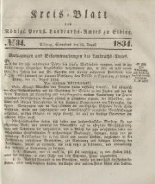Kreis-Blatt des Königlich Preußischen Landraths-Amtes zu Elbing, Nr. 34 Sonnabend 23 August 1834