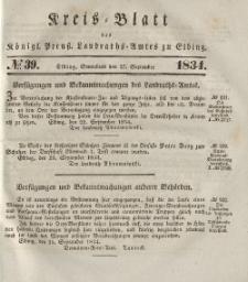 Kreis-Blatt des Königlich Preußischen Landraths-Amtes zu Elbing, Nr. 39 Sonnabend 27 September 1834