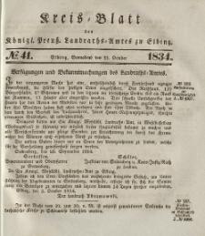Kreis-Blatt des Königlich Preußischen Landraths-Amtes zu Elbing, Nr. 41 Sonnabend 11 Oktober 1834