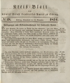 Kreis-Blatt des Königlich Preußischen Landraths-Amtes zu Elbing, Nr. 48 Sonnabend 29 November 1834