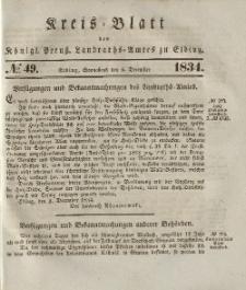 Kreis-Blatt des Königlich Preußischen Landraths-Amtes zu Elbing, Nr. 49 Sonnabend 6 Dezember 1834