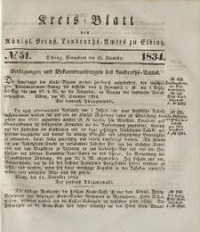 Kreis-Blatt des Königlich Preußischen Landraths-Amtes zu Elbing, Nr. 51 Sonnabend 20 Dezember 1834