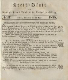 Kreis-Blatt des Königlich Preußischen Landraths-Amtes zu Elbing, Nr. 17 Sonnabend 25 April 1835
