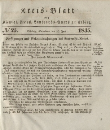 Kreis-Blatt des Königlich Preußischen Landraths-Amtes zu Elbing, Nr. 25 Sonnabend 20 Juni 1835