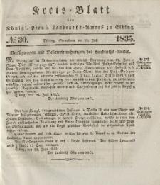 Kreis-Blatt des Königlich Preußischen Landraths-Amtes zu Elbing, Nr. 30 Sonnabend 25 Juli 1835