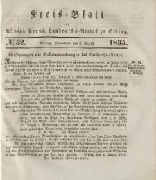 Kreis-Blatt des Königlich Preußischen Landraths-Amtes zu Elbing, Nr. 32 Sonnabend 8 August 1835