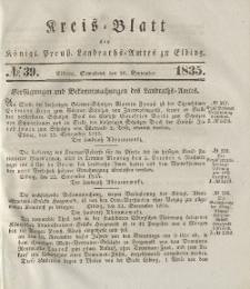 Kreis-Blatt des Königlich Preußischen Landraths-Amtes zu Elbing, Nr. 39 Sonnabend 26 September 1835