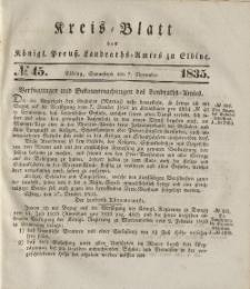 Kreis-Blatt des Königlich Preußischen Landraths-Amtes zu Elbing, Nr. 45 Sonnabend 7 November 1835