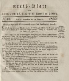 Kreis-Blatt des Königlich Preußischen Landraths-Amtes zu Elbing, Nr. 46 Sonnabend 14 November 1835