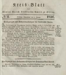 Kreis-Blatt des Königlich Preußischen Landraths-Amtes zu Elbing, Nr. 2 Sonnabend 9 Januar 1836