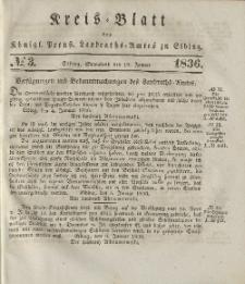 Kreis-Blatt des Königlich Preußischen Landraths-Amtes zu Elbing, Nr. 3 Sonnabend 16 Januar 1836
