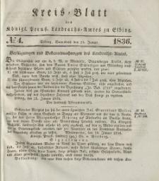 Kreis-Blatt des Königlich Preußischen Landraths-Amtes zu Elbing, Nr. 4 Sonnabend 23 Januar 1836